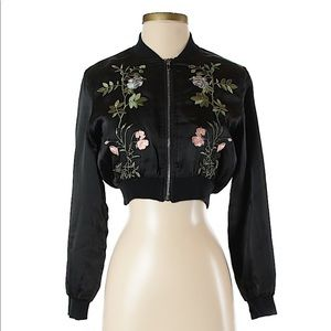 MissGuided Black Satin Embroidered Bomber Jacket 0